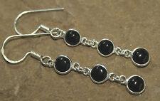 Black Onyx Earrings 925 Sterling Silver Triple round drop Gothic Pagan UK SELLER