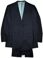 $5300 NEW BRIONI NAVY w SILVER ROYAL BLUE STRIPE 160'S WOOL SUIT EU 54 44L 44 L