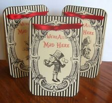 Mad Hatter tea party 8 Large black red tent cards party favor table decoration