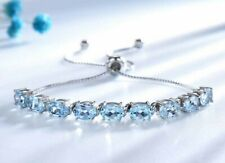 Black Friday Women's Adjustable Chain Bracelet 4.5 Ct Oval Aquamarine