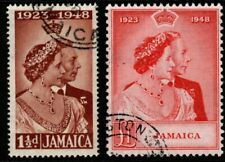 More details for jamaica sg143/4 1948 silver wedding fine used