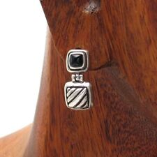 925 Sterling Silver Black Onyx Domed Striped Square Post Stud Earrings