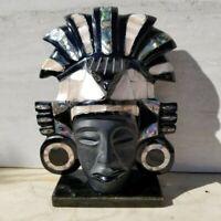 Large Mexican Aztec Mayan Obsidian & MOP Shell Mask Sculpture Figure