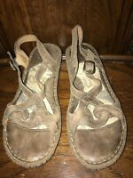 BORN Women's Handcrafted Brown Leather Slingback Sandals EU 40.5M / US 9