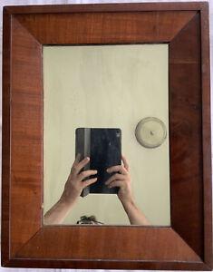 "Antique Victorian 19th C (~1850) Mahogany Veneer Mirror/Frame 19"" X 15"""