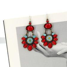earrings Golden Ethnic Red Flower Turquoise Blue Original Vintage E1