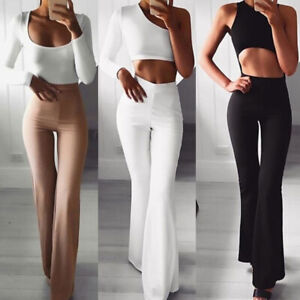 Women Solid High Waist Flare Wide Leg Chic Trousers Bell Bottom Yoga Pants