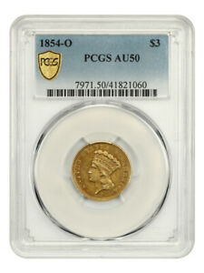 1854-O $3 PCGS AU50 - Low Mintage Gold from New Orleans - 3 Princess Gold Coin