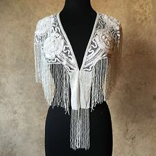 Sequin Beaded Lace Collar Shoulder Shrug Shawl Applique White Wedding Bridal