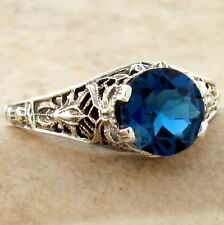 GENUINE LONDON BLUE TOPAZ 925 STERLING SILVER ANTIQUE STYLE RING SIZE 9,    #928