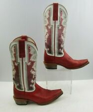 Ladies Ariat Red/White Leather Western Cowgirl Boots Size : 6 B