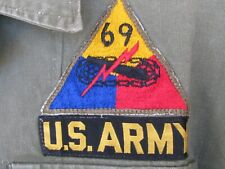 1950'S Us Army Field Utility Shirt 69th Armored Patch Hbt