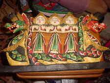 BALI CARVED  WOOD THREE FEMALE DEITY TWO HEADED DRAGON BOAT  WALL ART