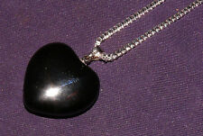 Colgante Negro obsidiana,México,corazón + COLLAR 8,2g 25x24x9mm piedra curativa