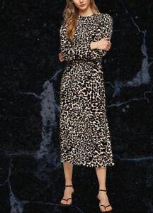 BNWT Topshop Animal Print Openback Midi Dress Size 10
