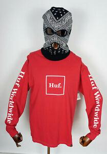 Huf Worldwide Skateboard Longsleeve Shirt Tee T-Shirt Domestic Scarlet in L