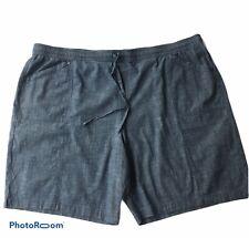 NWT Plus Size 3X Croft & Barrow Chambray Shorts Elastic Waist Front Tie Pockets