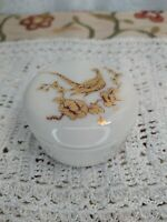 Mineature Gorham Round Trinket Box with Pheasant Design Porcelain Hand Decorated