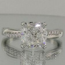 Certified 2.60CT White Cushion Diamond Engagement Her Ring Solid 14K White Gold