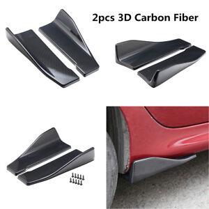 Carbon Fiber Look Rear Bumper Fin Canard Splitter Diffuser Valence Spoiler Lip