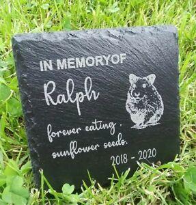 Personalised Engraved Slate hamster Pet Memorial Grave Marker Plaque Gift