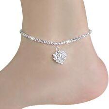 Silver Sparkly Bling Diamanté Barefoot Sandal Beach Charm Anklet jewellery