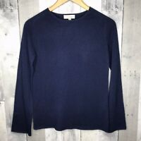 NEIMAN MARCUS Size Small S Women's 100% Cashmere Navy Blue Boatneck Sweater New