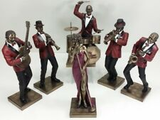 6 Pc - Jazz Band Collection Singer Saxophone Guitar Trumpet Clarinet Drum Statue