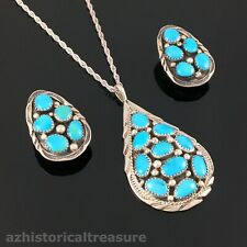 NATIVE AMERICAN NAVAJO STERLING SILVER TURQUOISE NECKLACE EARRINGS - JAMES TOM