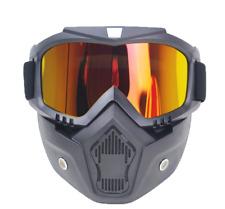 Detachable Goggles Face Mask Modular Motorcycle Shield Helmet Riding Eyewear US