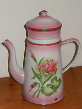 Antique Vintage French Enameled Biggin Coffee Pot - PINK FLOWERS