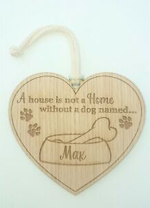 Personalised Wooden Dog Name Plaque, Heart shaped Hanging Sign Home Décor, Gift