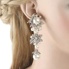 Wedding Flower Simulated Pearl Dangle Earrings Austrian Crystal Silver Tone