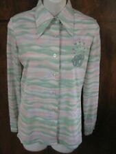RARE Murjani Poly Hong Kong Lucky Pierre Blouse Shirt M 1970s Mod Floral Accent