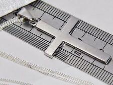 Solido Argento Sterling (925) Croce pendente a tinta unita + catena di 18 pollici