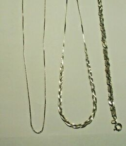 2 Vintage Sterling Silver Necklaces & a Bracelet 11.7 Grams Box & Braid Chains