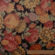 Cotton Quilt Sewing Fabric Colorful Floral Flowers on Black - BTY