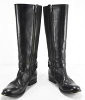 FRYE BOOTS Melissa Gore Black Leather Riding Boots 77291 SZ 7.5 B $388 Zip Up