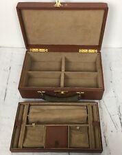Vintage Mark Cross Travel Jewelry Box Case LARGE suede Lined Tan Leather Rare  p