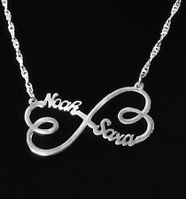 Custom Infinity 2 Name Necklace Sterling Silver, Any Infinity Heart Necklace