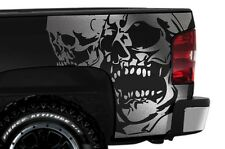 Vinyl Decal Graphic Wrap Double Skull for 08-13 Chevy Silverado 1500/2500 SILVER