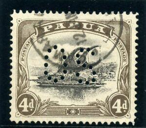 """Papua 1908 """"Lakatoi"""" Official 4d black & sepia very fine used. SG O12."""