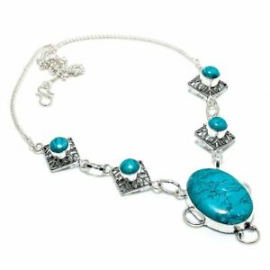 """Santa Rosa Turquoise Gemstone Gift 925 Sterling Silver Jewelry Necklace 18"""" T777"""