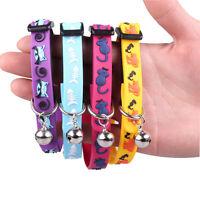 Pet Dog Catdjustable Rubber Collar Necklace Bell Collar Cat Fish Rat Print SH