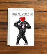 Happy Valentine's Day Monkey greeting card A6
