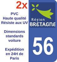 Sticker autocollant adhésif immatriculation département Morbihan 56 Bretagne X2