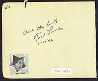 """Ted Lewis (d. 1971) signed autograph 4x5 Album Page Singer: """"Mr. Entertainment"""""""