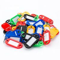 20 Key Tags Coloured Blank ID Fobs Plastic Identity Keyrings Car Metal Key Ring