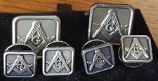 Antique Silver full cuff link and button Studs set Square & Compass