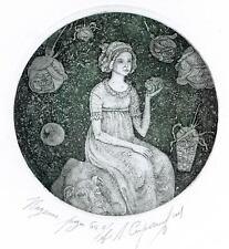 THE ROSE FALL Original etching by Leonid STROGANOV, Russian Ex Libris Artist